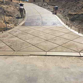 new stamped concrete driveway